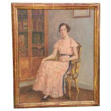 Eugene Cartier French Oil Painting ''Lady With Pink Dress''.Circa 1920-1930.