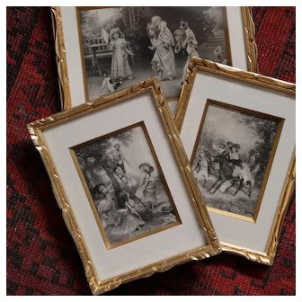 Set of three charming French engraving reproductions.