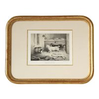 Pretty French 19th Framed Engraving,Cat and Dogs,After Corbet.