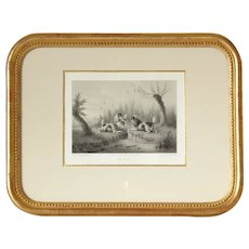 Pretty French 19th Framed Engraving Dogs Chasing a Rat,After Edward Armfield.