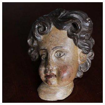 Antique Baroque Polychrome Carved Wood Putti Cherub Angel,Europe 18th century.
