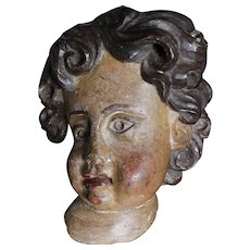 Antique Baroque Polychrome Carved Wood Putti Cherub Angel,Europe 18th century.