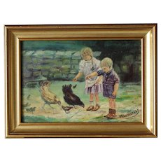 Charming oil on panel '' Children feeding hens and chicks '' signed J Van Arkkels.Circa 1930-1950.