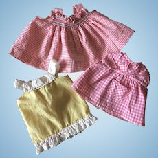 Set of Three French Vintage Summer Dresses for Little Doll.