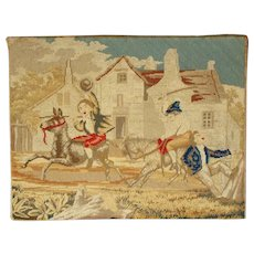 Amusing French 19th Petit Point Tapestry Donkey Race.