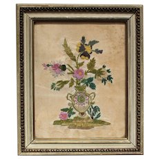 Delicious French Beadwork Velvet Chenille Embroidery Flower Bouquet Early 19th century.