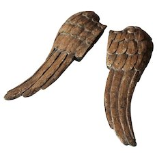 Antique Pair of Carved Wooden Angel Wings France 18th century.