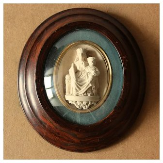 Antique French Molded Plaster Bas Relief  Virgin Mary and Child Jesus.Circa 1880.