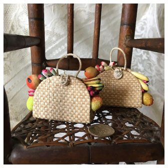 Adorable Pair of French Vintage Handbags or Baskets with Fruits for Doll Summer Outfit.