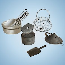 Dollhouse Kitchen Set French and German Cooking Tools:Pans, Salt Box, Wire Egg Basket…