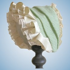 Charming Vintage Green Cotton Doll Hat With Frill and Lace.