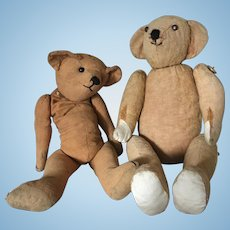 Set of Two Lovely French Antic Straw Filled Teddy Bears.