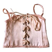 Nice French Pink Sateen Corset Size 7 with the Brand '' A la Sirene Paris''.