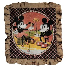 Vintage Disney Mickey Mouse and Minnie Plush Tapestry Cushion Cover .Circa 1930