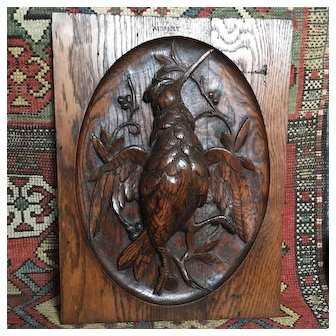 Beautiful Antique French Carved Oak Wood Hunting Trophy Panel Woodcock. Circa 1880