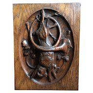 Beautiful Antique French Carved Oak Wood Hunting Trophy Panel Hare. Circa 1880