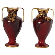 Beautiful Pair of Paul Milet or Millet MP Sevres Miniature Porcelain Vases .Early 20th Century.