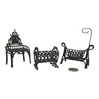Set of Three Old French Soft Metal Miniature Dollhouse Furniture.