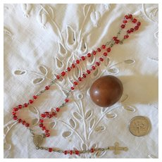Antique French Little Rosary in a Wooden Egg ,Child or Doll, Circa 1900.