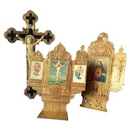 Uncommon Set of Three French Devotional Cardboard and Chromo-litograhy Items Early 1900s