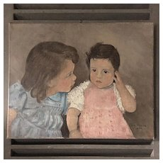 Charming French Oil on Canvas Little Girls Portrait Signed P.H Pigeon 1944.