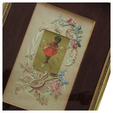 Charming French Framed Chromolithograph, Nice Painted Cut Fabric Border .Circa 1880-1900