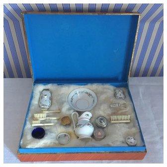 Rare French Porcelain Toilet Set For Doll in Presentation Box.Circa 1880-1900