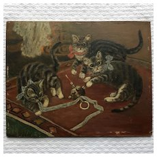 Adorable French Oil on Cardboard  Three Kittens Playing. Circa 1920.