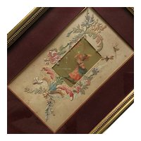 Charming French Framed Little Chromolithography, Nice Painted Cut Fabric Border .Circa 1880-1900