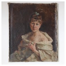 Impressionist French Painting Portrait of Young Lady. Circa 1900.Unsigned