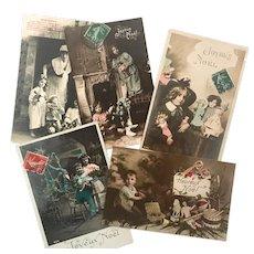 Set of Five Antique French Original Christmas Postcards.