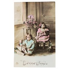 Charming French Tinted Real Photo Postcard Happy New Year  1911.