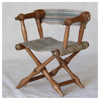 Adorable French Folding Chair for Doll .Circa 1900