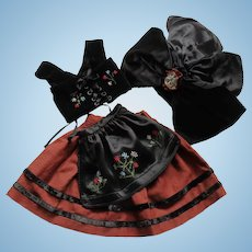 Charming and Uncommon Vintage French Traditional Alsatian Costume for Doll .Four Pieces.