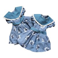 Two Pretty Identical French Vintage Dresses for Twin Dolls.