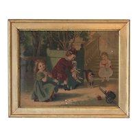 Adorable French 19th Century Chromo : Childish Scene