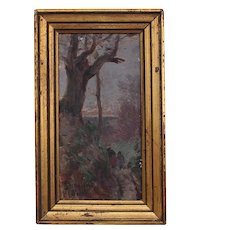 Small French Oil on Panel Landscape Signed Roger François Picquefeu.
