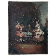 Charming 19th century French Oil Painting ,Country Supper, to Be Restored.