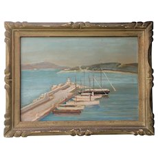 Pretty French Oil Painting,The Little Port of Sainte Maxime.Circa 1930.