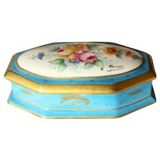 French Limoges Hand Painted Porcelain Box 20th century