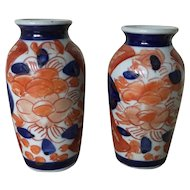 Miniature Imari Porcelain Pair of Vases .Early 20th Century.