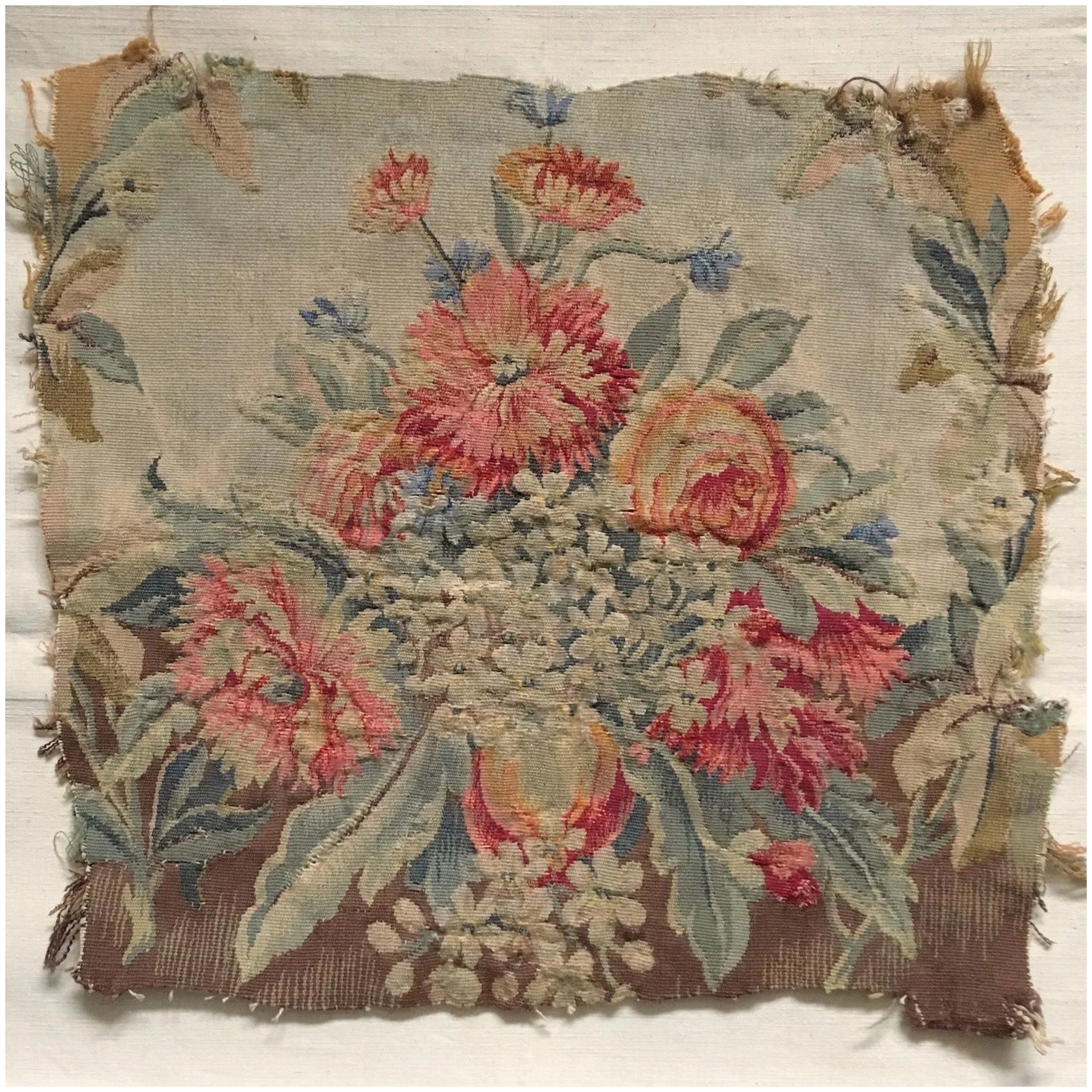 Vintage tapestry mural  women/'s canvas backless with a bouquet of flowers circa 1980 France