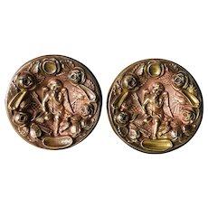 French Decorative Stamped Brass Elements,Cherub Decor.Circa 1880-1900