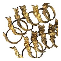 Rare set of 12 French Golden Brass Curtain Rings. Circa 1910- 1920.