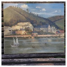 Charming French Naive Oil Painting. Landscape Dated 1893.