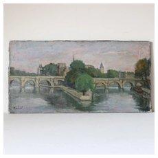 Jacob Markiel French Painting of Paris L'Ile de la Cité- Le Pont-Neuf .Circa 1935-1940