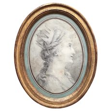 Antique French  Drawing ''Portrait Of A Lady With A Crown''.Early 19th Century.