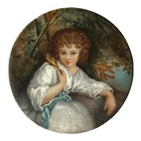 Charming Antique French Miniature Painted Porcelain Plaque: Child With A Bird.