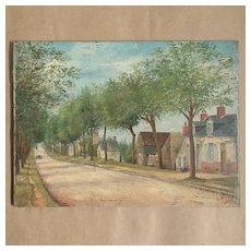 Naive French Folk Art Oil On Panel ''Village Street'' Th Roquel.Circa 1900.
