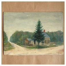 Naive French Folk Art Oil On Panel ''The Railroad Crossing'' Th. Roquel 1900